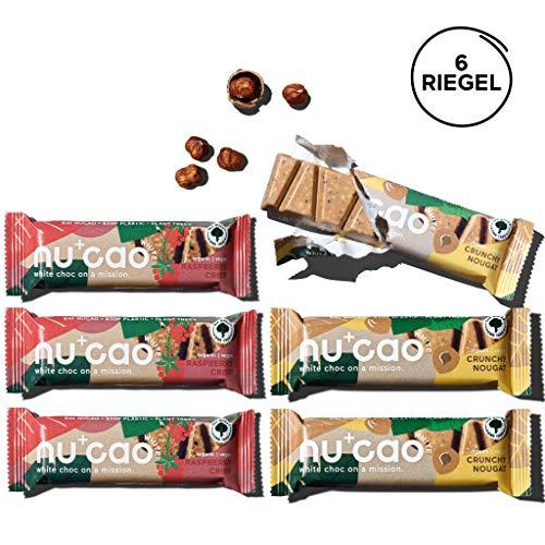 nucao white. -Mixed Box- Vegane Weiße Choc mit Bio Nährstoffkick aus crunchy Hanfsamen & cremiger Tigernuss [Crunchy Nougat & Raspberry Crisp][Nachhaltig Plastikfrei] 240g|6-Pack
