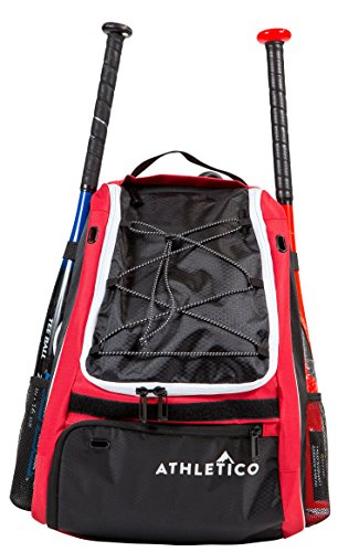 Athletico Baseball Bat Bag - Backpack for Baseball, T-Ball & Softball Equipment & Gear for Youth and Adults | Holds Bat, Helmet, Glove, & Shoes |Shoe Compartment & Fence Hook (Red)