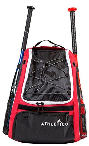 Athletico Baseballschläger Tasche - Rucksack für Baseball, T & Softball Equipment & Gear für Kinder, Jugend, und hält, Erwachsene | Bat, Helm, Handschuh, Schuhe (Rot)