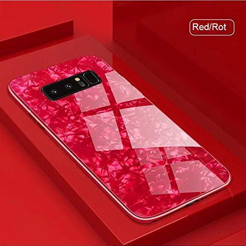 Gehärtetem Glas Zurück Hülle für Galaxy S20+ Plus, Samsung S20 Plus (5G) Hard Case, SevenPanda Glitter Muschel Muster Gemalt Harten Spiegel Weichen Bumper Schutz für Samsung Galaxy S20 Plus 2020 - Rot
