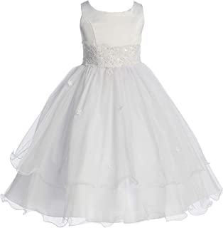 Little Girls' First Communion Lace Trim Tulle Wedding Flowers Girls Dresses