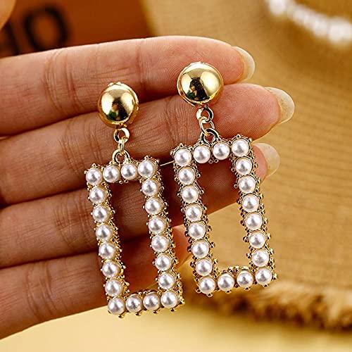 FEARRIN Pendientes Pendientes de aro de Perlas de Moda para Mujer Gran Estrella de Oro geométrica Pendiente de círculo Redondo Joyería de declaración de Moda LNI1307-2