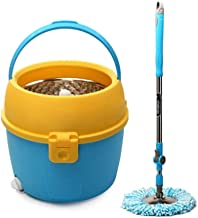 WZHZJ Mop Bucket Rotating Household Hands Free Washing and Drying Wet Dual Use Single Bucket Single Drive Automatic Wooden...