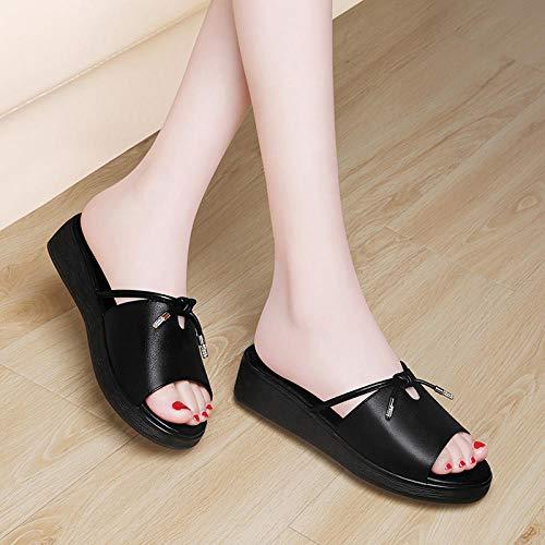 quming Zapatos de la Ducha del Deslizador,Sandalias cuña Piel, Sandalias Plataforma baño-Negro_39