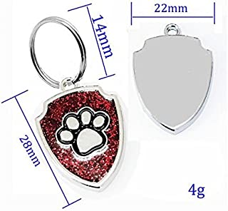 Polykor Useful Shield-Shaped Dog Paw Pattern Pet Necklace Accessories Dog Tag(Red