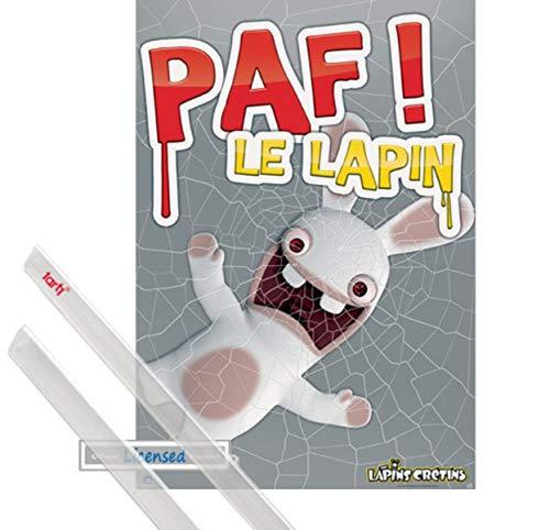 1art1 Raving Rabbids Póster (98x68 cm) Paf! Le Lapin Y 1 Lote De 2 Varillas Transparentes