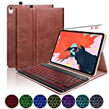 iPad Pro 11 Case with Keyboard 2018, Leather PU Sewing Case Detachable 7 Color Backlit Wireless Keyboard -...