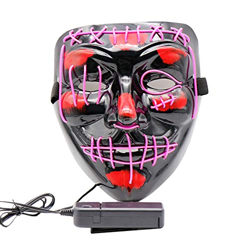 Halloween Mask LED Light Up Mask Cosplay EL Wire Scary Glowing Mask Halloween Festival Party for Men Women – Purple