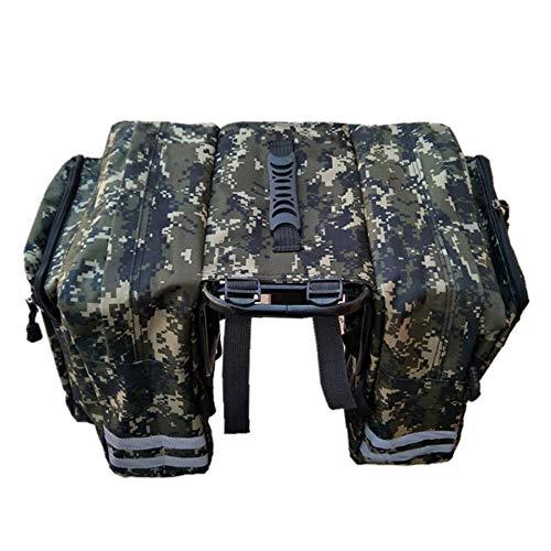 Q_TS Reißfest Radfahren Gepäckträger Tasche,Camouflage Fahrrad Doppelpacktasche, Mountainbike Tasche Gepäckträger Tasche, Fahrradausrüstung Tasche-Grün