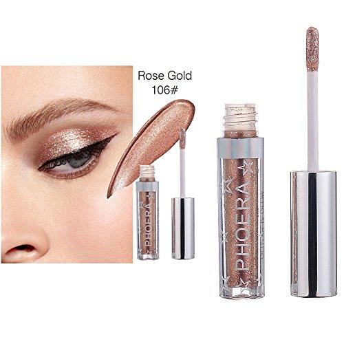 12 Farbe Liquid Eyeliner Eyeshadow Makeup Lidschattenpinsel Langlebige Shiny Glitter Wasserdicht Schimmer und Glanz Lidschatten Wasserdichtes Liquid Eyeshadow von Frashing