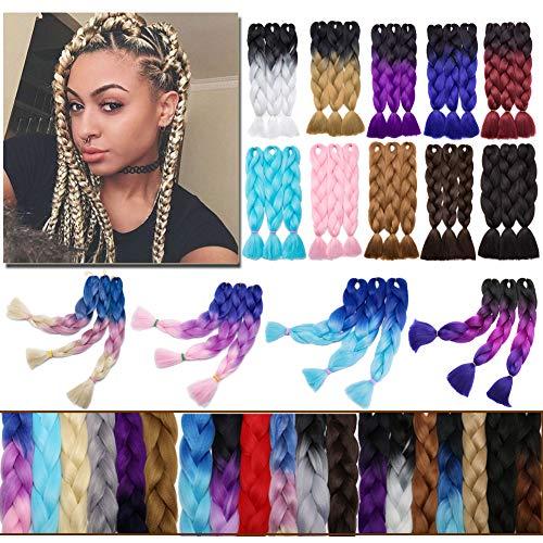 Jumbo Braiding Hair 24 inch Jumbo Braid Hair Extensions Jumbo Box Braids Crochet Hair Long Rainbow Colorful for Women Kids DIY High Temperature Synthetic Fiber Dark Purple 1 Bundle