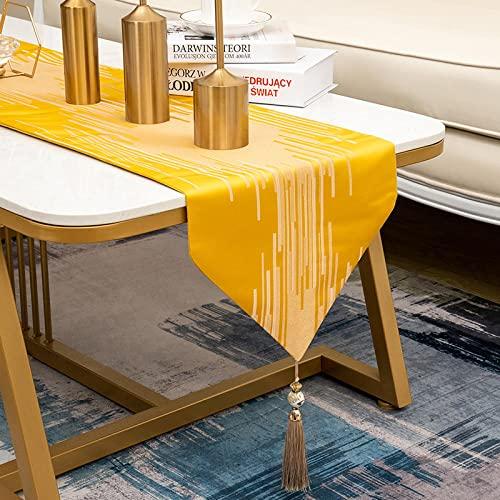 AAPOY Tischläufer Aus Baumwolle 1 Stücke Goldener Tischläufer Wohnzimmer Esstisch Couchtisch Tv Schrank Abdeckung Tuch Hotelbett Flagge 33 * 180Cm