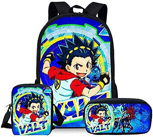 KHDJH Kinderrucksack 3 Pcs Schule Taschen Set für Kinder Jungen Schule Rucks e Schulter Bagpack Kinder Bookbag Satchel F D