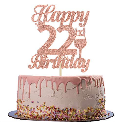 Rose Gold Glitter Happy 22nd Birthday Cake Topper - Cheers to 22 Years Old Cake Decor - 22nd Birthday/Anniversary Party Decoration Supplies