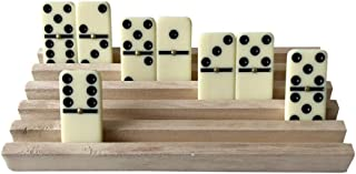 WFGOGO Poker Set of 4 Solid Wood Domino Trays, Domino Tiles Rack, Domino Holder,Great for Mexican Train, Mahjong, Chickenfoot,Dominos NOT Included