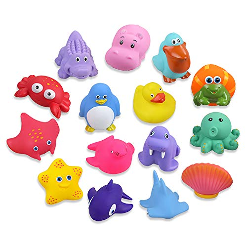 Lictin Baby Bath Toys - 15PCS Bath Squirters Toys Assorted Colors, Ocean Animals Floating Bath Toy for Kids (Multicoloured 2)