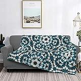 Manta de microfibra ultrasuave para decoración del hogar, manta de franela cálida antipilling para sofá, cama, campamento de 156 x 150 cm, teñido anudado floral