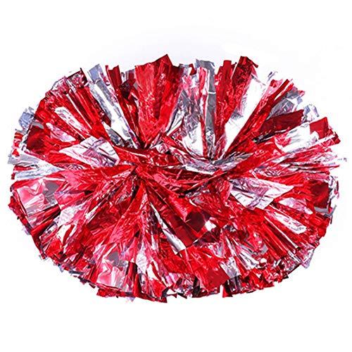 Egurs Kinder Cheerleading Pom Poms 2 Stück Cheerleading Metal Pompons Junge Mädchen Rot Ring-Stil
