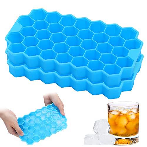 2パック アイスキューブトレイ シリコン製氷皿型 柔軟 積み重ね可能 74個 アイスキューブ 簡単リリース 再利用可能な型メーカー 飲み物 ウイスキー カクテル ジュース 安全 BPAフリー (ブルー)