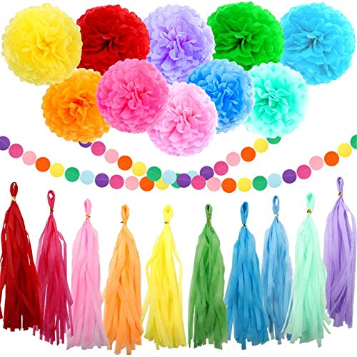 ZJHAI 61pcs Rainbow Party Decoration Tissue Paper Pom Poms, Tassel Garland and Circle Dots Hanging Decorations