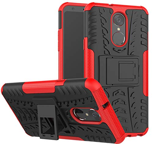 Yiakeng Compatible for LG Stylo 4 Case, LG Q Stylus Case, LG Stylo 4 Plus, Dual Layer Shockproof Wallet Slim Protective with Kickstand Hard Phone Case Cover for LG Stylus 4 (Red)