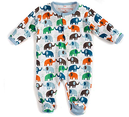 Magnificent Baby Baby Boys' Magnetic Smart-Close Footie, Blue Elephant, 3 Months