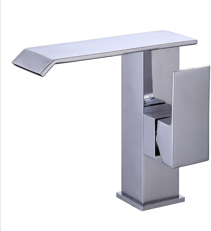 Rubinetto FANGQIAO SHOP Wasserhhne , Einhand-Einloch-Massivmessing Badezimmer-Wasserfallhahn, warmes und kaltes Becken Retro Waschbecken Wasserhahn