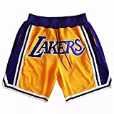HFDH Men's Classic Basketball Shorts Grizzly Bulls Lak.ers Retro Embroidered Basketball Shorts(Yellow,M)