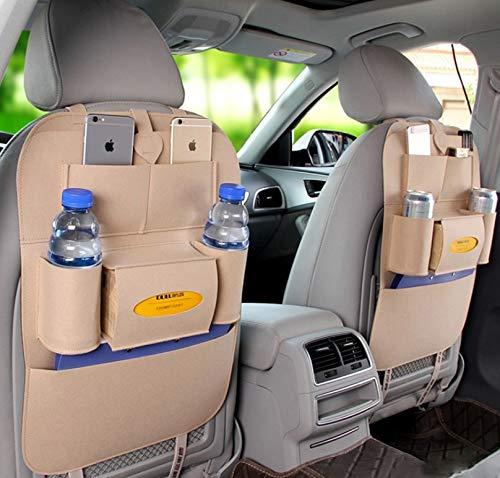 Lomire 2 Stück Auto-Rückenlehnenschutz, Rückseite Sitz Auto Organizer, Multifunktionale Stuhl Zurück Aufbewahrungstasche mit Tablet Halterung für Kinder Kick Matte für iPad,iPhone,DVD,Getränke (weiß)