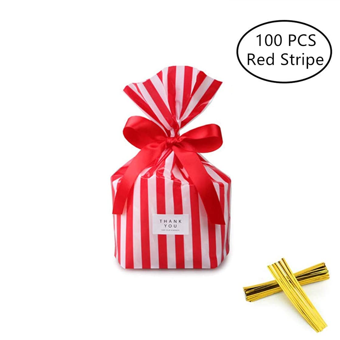 Red and White Stripe Clear Cello Bags Cookie Candy Plastic Bags Cellophane Treat Bags, Party Favor Bags, Great for Wedding, Birthday, Bridal/Baby Shower, or Any Parties and Events, Pack of 100 llexcbha60129