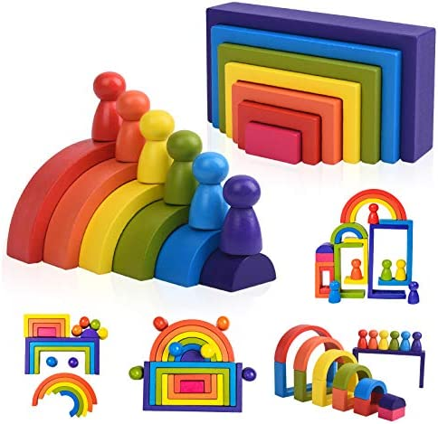 Wooden Rainbow Stacking Game Learning Toy Geometry Building Blocks for Toddlers Age 1 2 3 4 product image