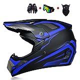 Adult ATV Helmet with Goggles Neck Gaiter Gloves, DOT Approved Motocross Dirt Bike Off-Road Helmet, Four Wheeler MX BMX Downhill Helmet for Men Women,Blue,M