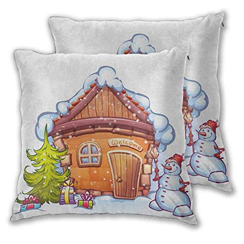 Christmas Zippered Square Pillowcase, 24 x 24 Inch Cartoon Style Cute House with Snowy Roof Snowman and Fir Tree Presents Room Decoration Christmas Decoration Caramel Green White Set of 2