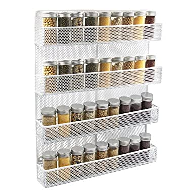 ESYLIFE 4 Tier Wall Mount Spice Rack Organizer Large Kitchen Spice Storage Shelf, White