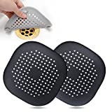 Hair Drain Catcher,Square Drain Cover for Shower Silicone Hair Stopper with Suction Cup,Easy to Install Suit for Bathroom,Bathtub,Kitchen 2 Pack(Black)