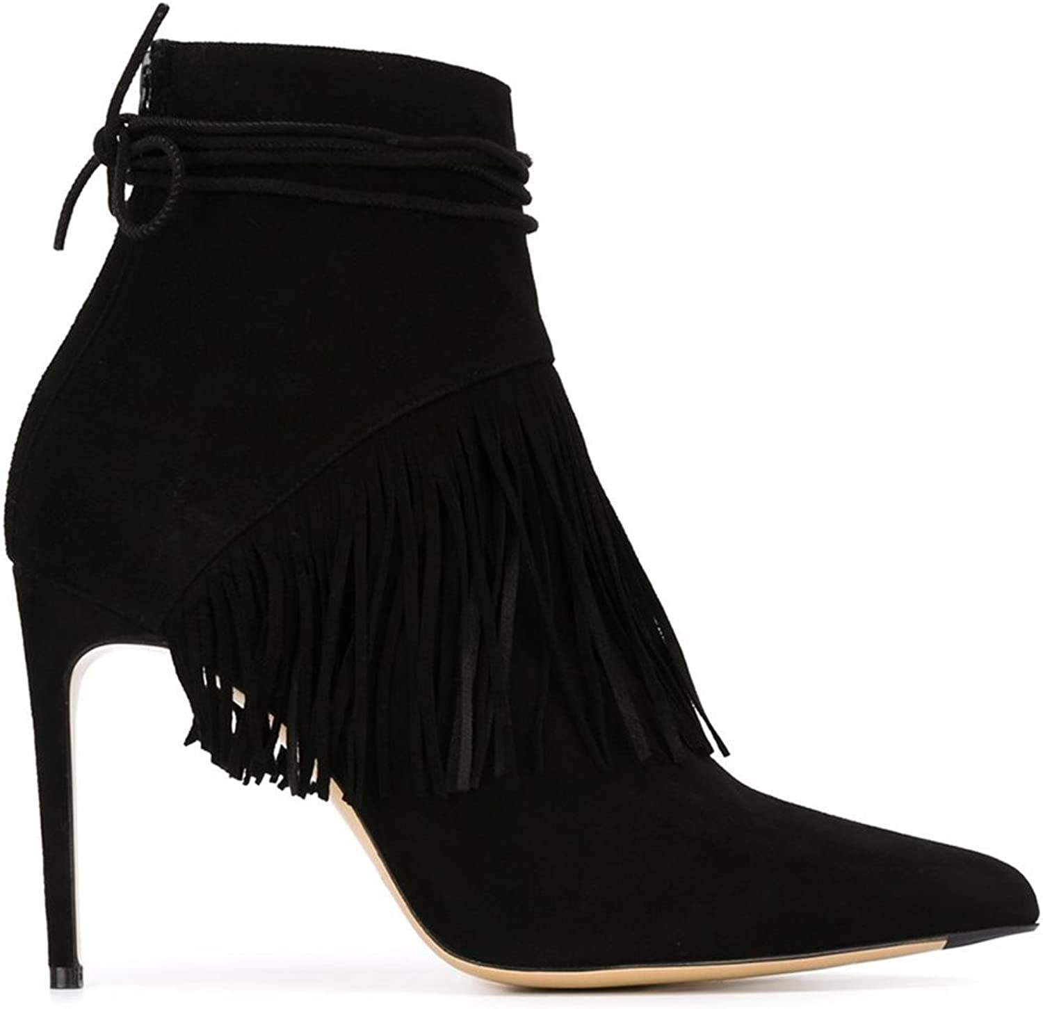 Joogo Pointed Toe Back Zipper Fringe Lace Up High Slim Stiletto Ankle Boots Black Camel Suede