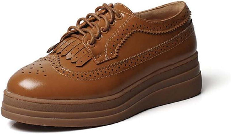 Frauen 4,5 cm Keilabsatz 2,5 cm Plattform dicken Boden Runde Toe schuhelace Freizeitschuhe Oxford Schuhe Retro reine Farbe geschnitzte Tassel Court Schuhe Eu Gre 34-40
