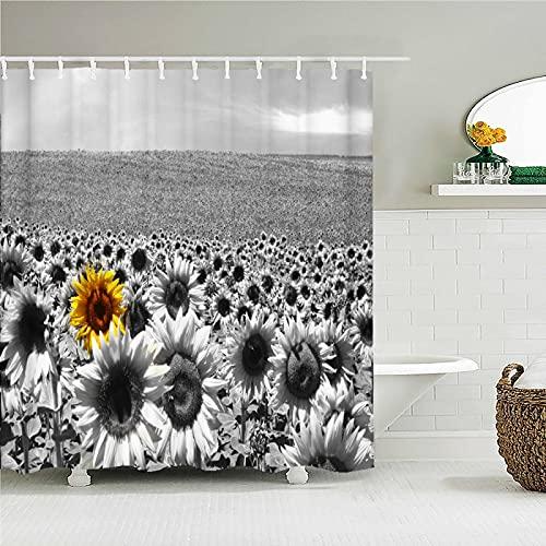WILLMEIH duschvorhang stoff waschbar Sonnenblume Pflanze grau 95