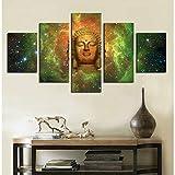 5 Piezas Modernos Mural Fotos Noches de Aurora Starry Sky Aurora para Salon,Dormitorio,Baño,Comedor Dibujo con Marco Fotografía para Oficina Aniversario