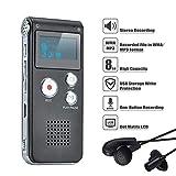 COVVY Grabadora de Voz Dictáfono LCD USB Grabadora de Voz Digital Profesional Portátil Reproductor MP3 de Larga Duración Batería Recargable-8GB (Negro)