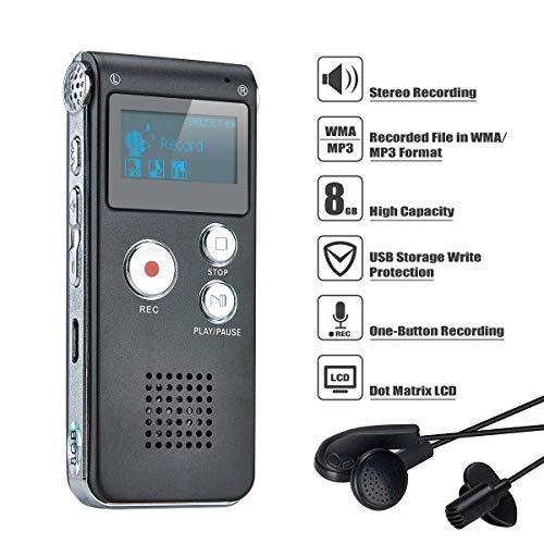 bon comparatif COVVY Voice Recorder Enregistreur vocal numérique portable 8 Go Enregistreur vocal Enregistreur audio… un avis de 2021