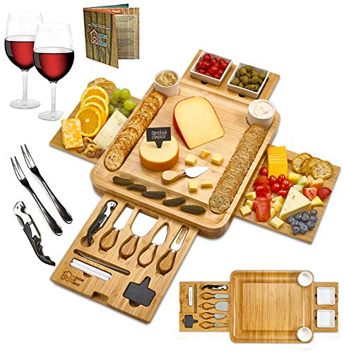 Cheese Board 2 Ceramic Bowls 2 Serving Plates. Magnetic 2 Drawers Bamboo...