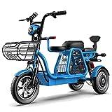 YAMAXUN Patinete Eléctrico Triciclo Eléctrico con Tres Asientos Cómodos, Velocidad Máxima De 30 Km/H, Resistencia De 120 Km, Capacidad De Carga De 200 Kg para Uso Familiar,Azul,15AH/60KM