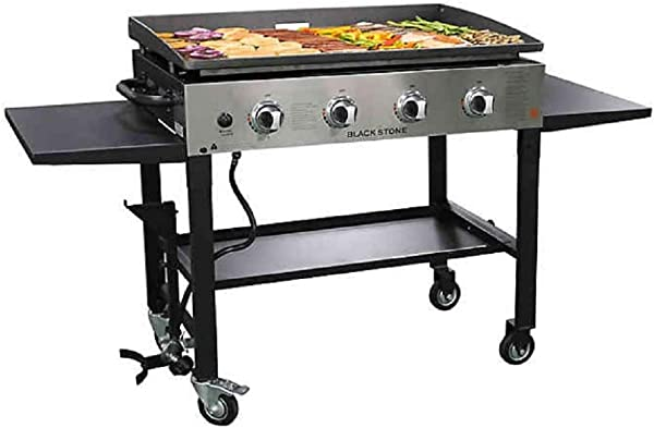 Blackstone 1565 36 Inch Outdoor Propane Gas Griddle Stainless Steel Black 4 Independent Burners 720 Square Inch Cooking Surface Grease Can Collapsible And Portable