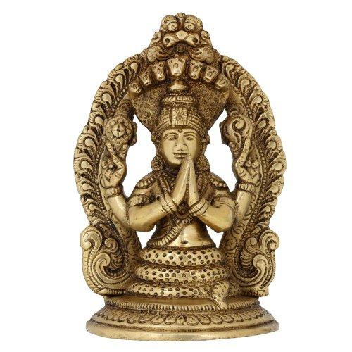 Shalinindia Arte Indiana Decorazione casa Regali Religiosi patanjali Statua in Ottone Induismo 12,7 cm