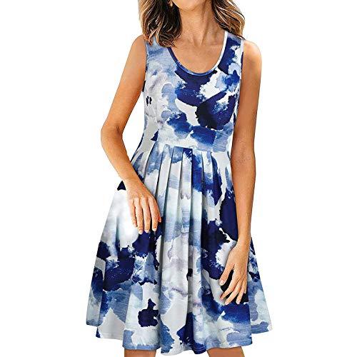 YANFANG Vestido Corto De Playa Sin Mangas Informal con Estampado Cuello Redondo Verano para Mujer,Vestido Casual,Vestidos Cortos Mujer,Vestidos Mujer,Azul,XXL