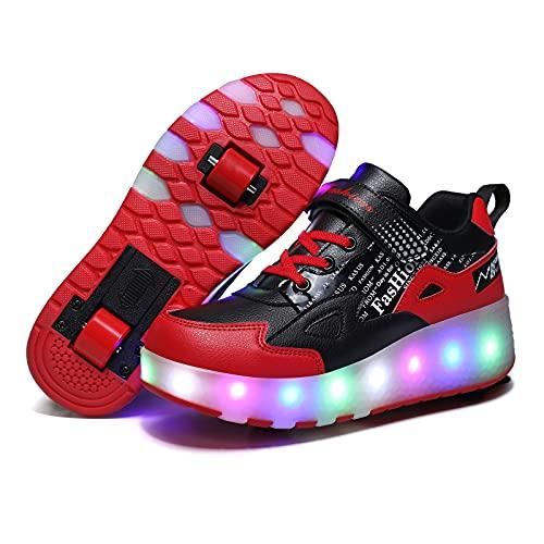 GGBLCS Skateboardschuhe Mit 2 Rollen Jungen Mädchen LED Lichter Rollenschuhe 7 Farben Leuchtend USB Aufladbare Blinkschuhe Kinder Outdoor Turnschuhe,Rot,35 EU