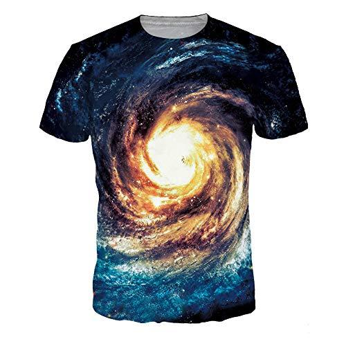 Xuba T-Shirt, Unisex, stylisches 3D-Whirlpool-T-Shirt, Digitaldruck, kurzärmelig, Blau Gr. XXL, Blue Swirl