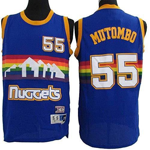 XIAOHAI Jerseys de la NBA de los Hombres - Denner Nuggets # 55 DIKEMBE Mutombo Tela Transpirable Fresca Resistente al Desgaste Transpirable Vintage Basketball Jerseys Top Camiseta,S