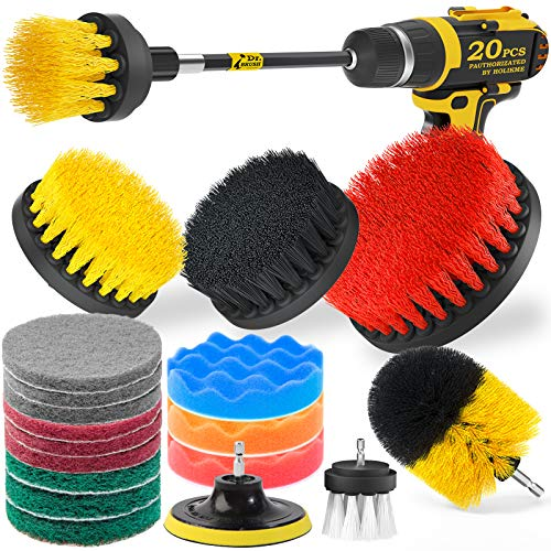 Holikme 20Piece Drill Brush Attachments Set, Scrub Pads & Sponge,Buffing Pads,Power Scrubber Brush with Extend Long Attachment,Car Polishing Pad Kit